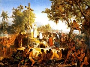 """A primeira """"missa"""" no Brasil por Meirelles, Victor (1832 - 1903)"""