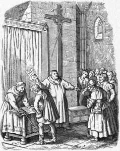 Tetzel autorizado pelo Papa, levanta recursos para a construção da Basília de S.Pedro em Roma.